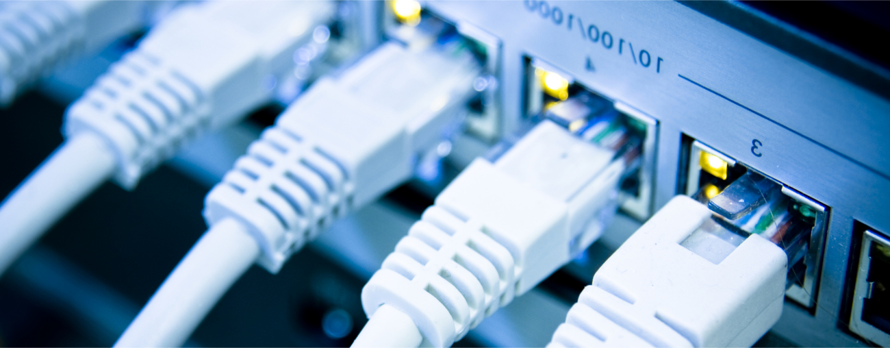 Set of internet cables connected to a router